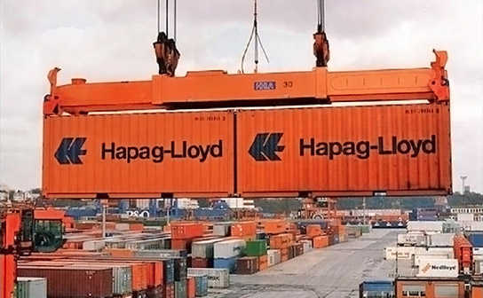 coupled containers with handling gear